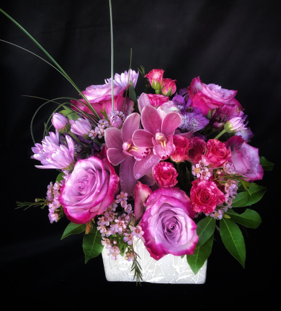 Lavender Lovelies Cube Vase
