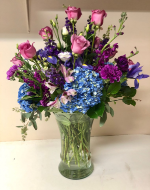 Lavender Luster Vase Arrangement in Michigan City, IN | WRIGHT'S FLOWERS AND GIFTS INC.