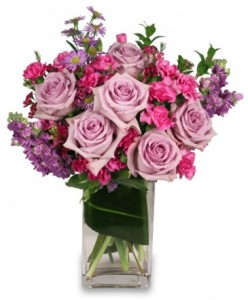 Lavender Luxury Bouquet Roses and Stock