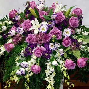 Lavender meadow casket  Casket floral spray  in Chatham, NJ | SUNNYWOODS FLORIST