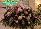 lavender pink  casket spray
