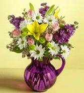 Lavender Pitcher Arrangement Fresh Flowers