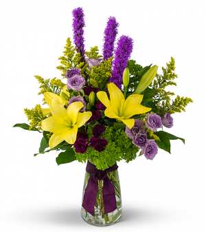 Lavender, Purple And Yellow Class Flower Arrangement in Tulsa, OK | THE WILD ORCHID FLORIST