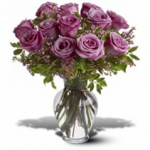 Dozen Lavender Roses Arranged in vase