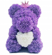 LAVENDER ROSE BEAR HUGGING WHITE HEART DISPLAY BOX