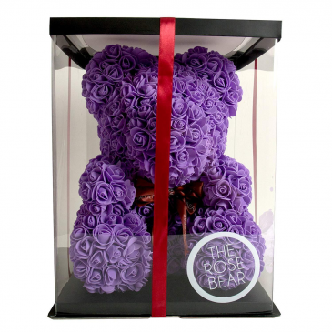 Lavender Rose Teddy Bear Comes With Display Box