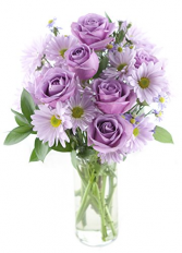 Lavender Roses Dilly Dilly Vased Arrangement