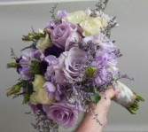 LAVENDER ROSES, STOCK, LISIANTHUS, LIMONIUM WEDDING BOUQUET