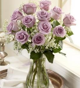 Lavender Roses Vase Arrangement