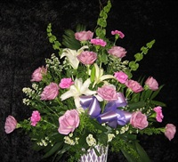 Lavender Roses/White lilies Sympathy Basket