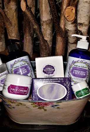 SORRY SOLD OUT. SENSES AND SENSIBILITY A LAVENDER SPA PROUDLY MADE IN NS..