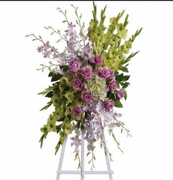 lavender standing funeral spray