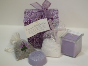 Lavender Take-out box gift box in Northport, NY | Hengstenberg's Florist
