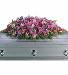 Lavender Tribute Casket Spray Sympathy