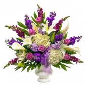 Lavender urn arrangement
