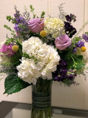 Lovely Lavender Arrangement Tall Vase in Fairfield, CT | Blossoms at Dailey's Flower Shop