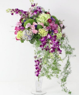 Lavender Waterfall Centerpiece Wedding Flowers in Croton On Hudson, NY | Cooke's Little Shoppe Of Flowers