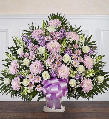 Lavender & White Floor Basket Arrangement