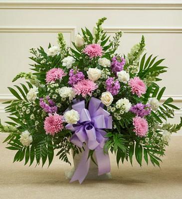 Lavender & White Funeral Basket