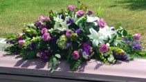 Lavender & White Half Casket Cover sympathy flowers