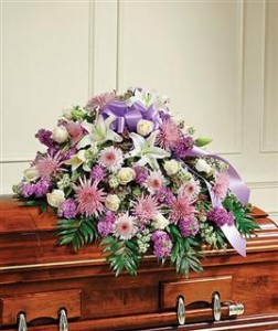 Lavender & White Mixed Half Casket Cover Funeral in Crestview, FL | The Flower Basket Florist