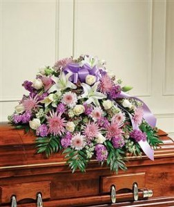 Lavender & White Mixed Half Casket Cover Funeral