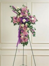 Lavender & White Mixed Standing Cross Funeral