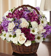 Lavender & White Peace, Prayers, & Blessings Basket  Arrangement