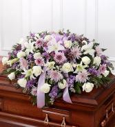 Lavender & White Rose Half Casket Cover Casket Flowers