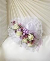 Lavender & White Satin Heart Casket Pillow Funeral - Sympathy