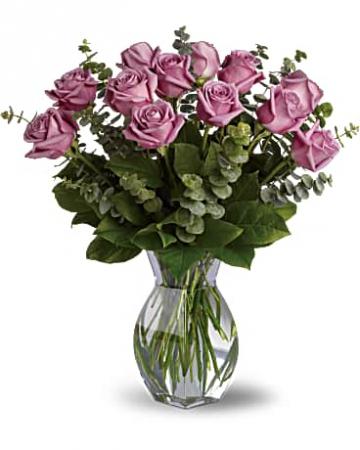 Lavender Wishes-Dozen Lavender Roses Bouquet