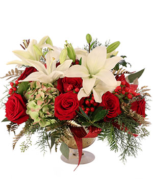 Lavish Lilies & Roses Floral Arrangement in New Boston, TX | Vintage Rose Flowers & Gifts