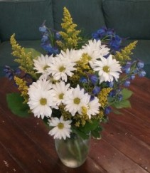 Lazy Daisy and Delphinium Arrangement
