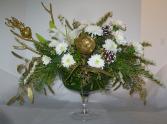 WHITE PEDESTAL BOWL Seasonal Arrangement