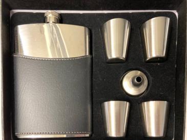 Men's Elite Leather Flask Set