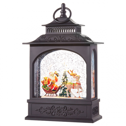 LED Lit Santa Snow Lantern