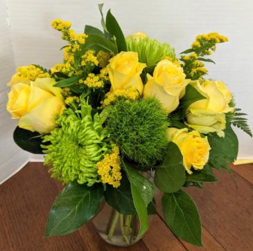 Lemon Lime Fresh Floral Vase Arrangement