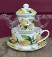 Lemon Tree teacup and glass teapot Glass teapot with teacup