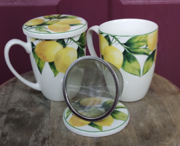 Lemon Tree teacup Loose tea strainer and mug