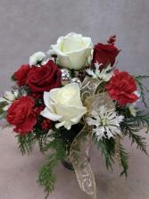 Let it Snow vase arrangement