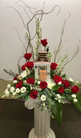 Let Love Light the Way Lantern Funeral Arrangement in Michigan City, IN | WRIGHT'S FLOWERS AND GIFTS INC.