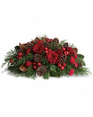 Let's Gather Around Christmas Centerpiece in Magnolia, TX | ANTIQUE ROSE FLORIST