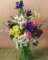 Let's Spring It On!  Vase of mixed spring flowers