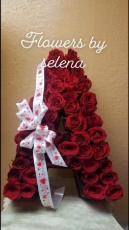 Letter floral arrangement