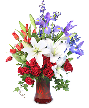 Liberty Bouquet Vase Arrangement in Montour Falls, NY | Flower Divas Of Montour Falls