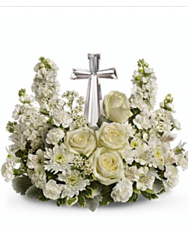 Life's glory bokay All white flowers around a crystal cross