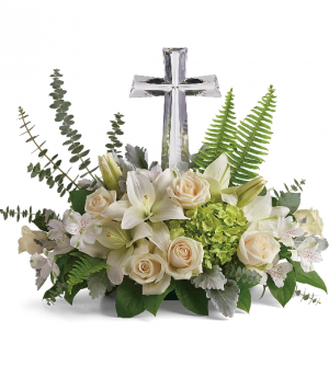 "Life's Glory Bouquet by Teleflora  T284-2B   Features  a Lg 11"" Crystal Cross in Hesperia, CA 