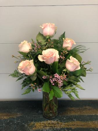 Half Dozen Light Pink Roses Vase Arrangement