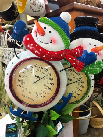 Solar Light Up Snowman Outdoor Thermometer