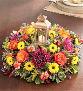 You Are The Light! Brilliant Fall Blooms Accented With a Gilded Lantern